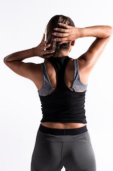 Vista traseira, ajustar, mulher, em, sportsuit