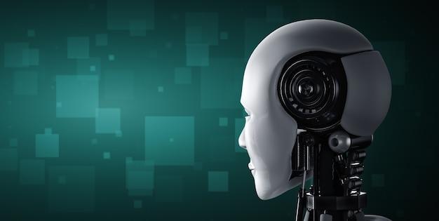 Vista traseira da cabeça do robô ai humanóide
