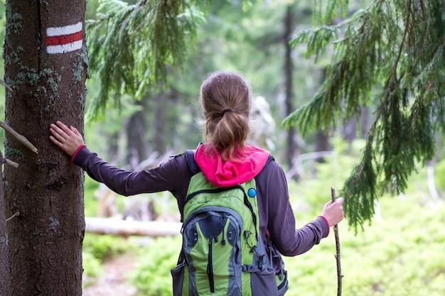 Vista traseira da garota de alpinista turista magro com vara e mochila, segurando a mão no tronco de pinheiro com sinal de maneira iluminada pela floresta de montanha de sol. turismo, viagens, caminhadas e conceito de estilo de vida saudável.