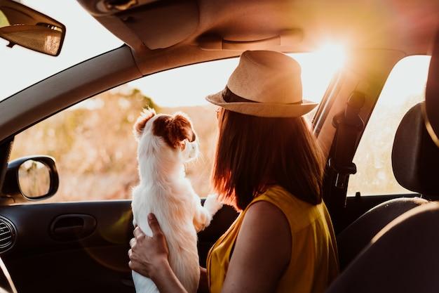 Vista traseira da jovem mulher em um carro com seu cachorro ao pôr do sol