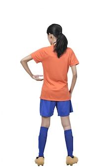 Vista traseira, de, asian football, jogador, mulher segura, a, bola