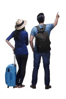 Vista traseira, de, asian tripulam, viajando, junto, com, bagagem