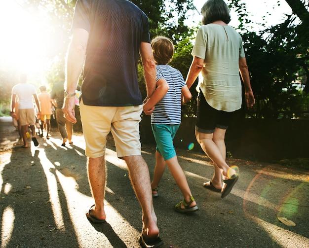 Vista traseira, de, caucasiano, família caminhando, ao ar livre, junto