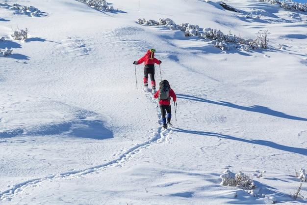Vista traseira de dois caminhantes turísticos com mochilas e bastões ascendendo a encosta da montanha de neve em dia ensolarado de inverno na neve branca cópia espaço fundo. esporte radical, recreação, férias de inverno.