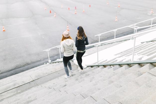 Vista traseira, de, dois, femininas, sacudindo, ligado, a, escadaria, em, a, inverno