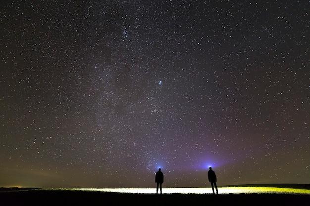 Vista traseira de dois homens com lanternas de cabeça sob o céu estrelado escuro.