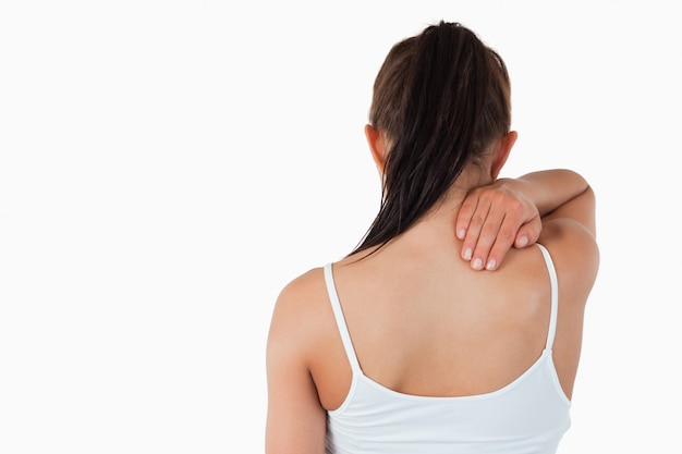 Vista traseira, de, femininas, com, dor pescoço