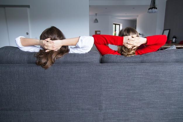 Vista traseira, de, femininas, companheiros de quarto, relaxante, ligado, sofá