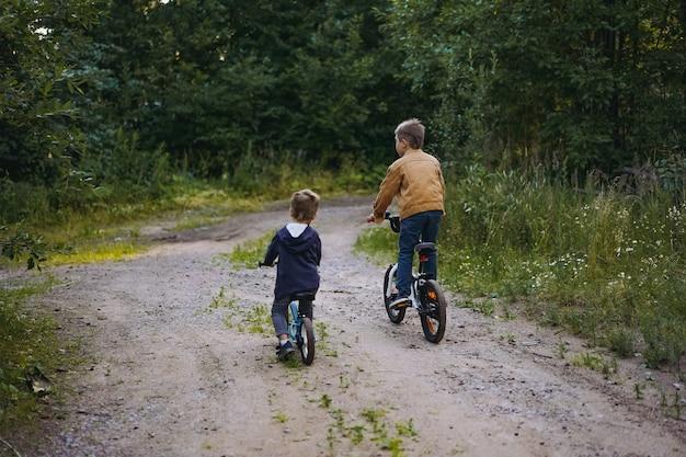 Vista traseira de irmãos meninos caucasianos fofos andando de bicicleta juntos no campo no verão