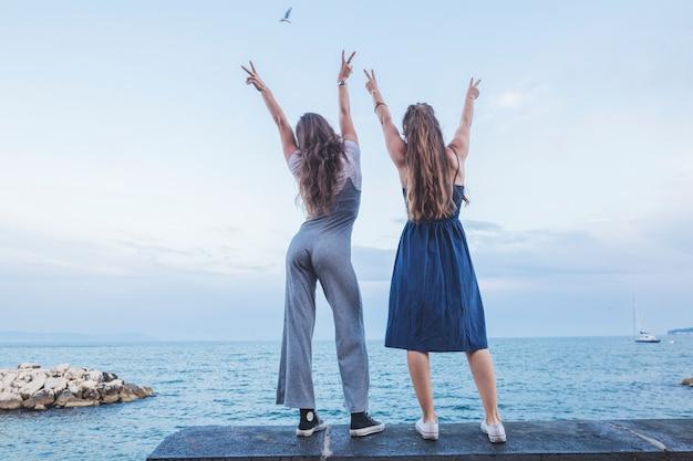Vista traseira, de, mulheres, ficar, ligado, cais, mostrando, sinal paz