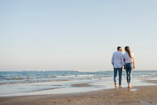 Vista traseira, de, par caminhando, ligado, praia arenosa
