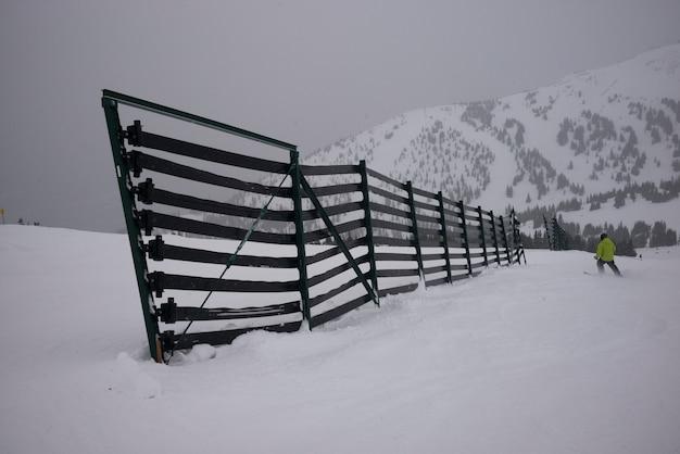 Vista traseira, de, pessoa, esquiando, em, neve, canadá
