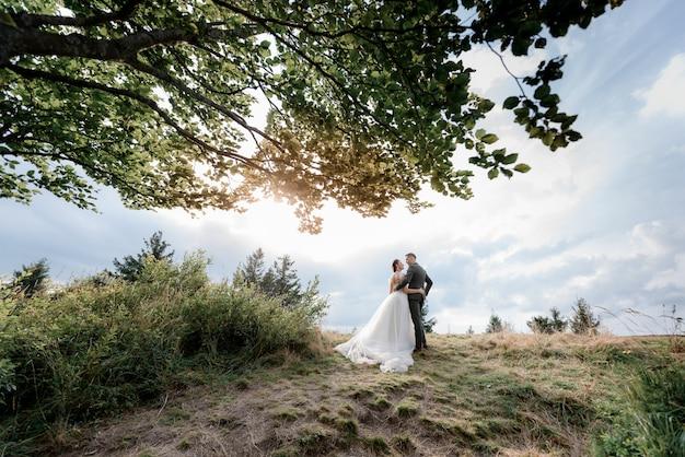 Vista traseira de um casal ao ar livre no dia ensolarado quente com grama verde e folhas