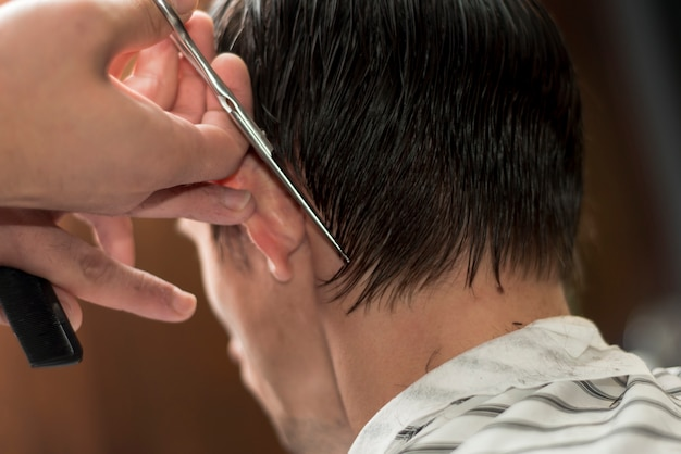 Vista traseira, de, um, homem, obtendo, um, corte cabelo