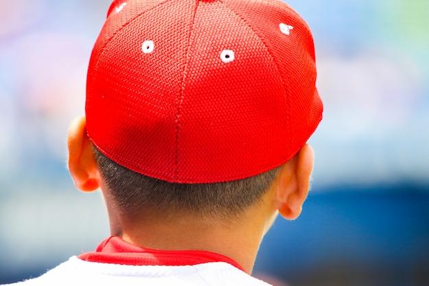 Vista traseira de um jogador de beisebol