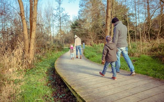 Vista traseira de uma família caminhando juntos de mãos dadas sobre um caminho de madeira na floresta