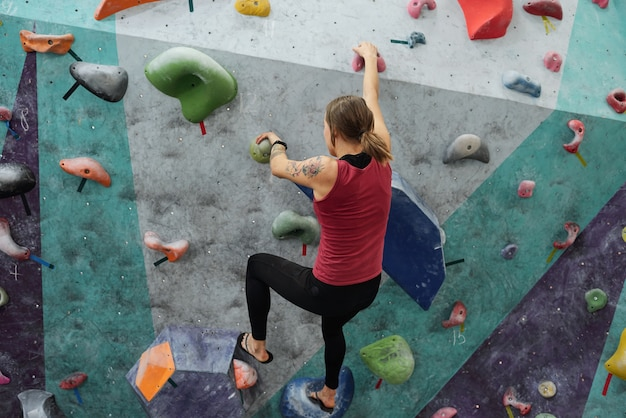 Vista traseira de uma jovem desportista em vestuário desportivo agarrando-se a pequenas pedras na parede de escalada enquanto se move para cima