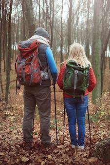 Vista traseira do casal durante uma caminhada