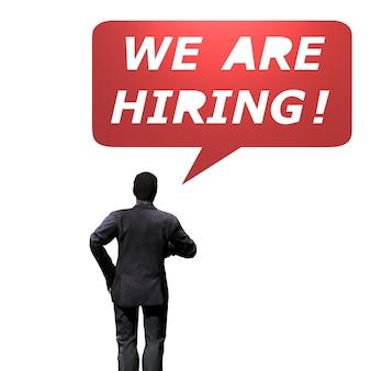 Vista traseira do empresário com o conceito de contratação