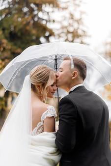 Vista traseira do jovem noivo beija uma noiva loira sob um guarda-chuva no parque
