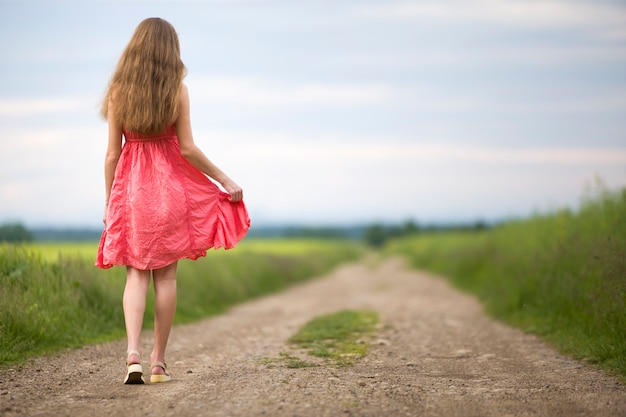 Vista traseira do jovem romântica magro mulher de vestido vermelho com cabelos longos, andando pela estrada de terra ao longo do campo verde num dia ensolarado de verão no céu azul