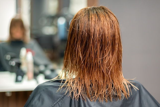Vista traseira do lindo cabelo liso vermelho longo molhado de uma jovem no salão de cabeleireiro