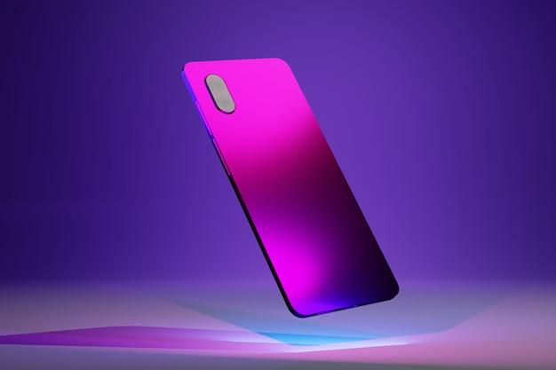 Vista traseira do telefone móvel com duas câmeras em luzes azuis, rosa e roxas e design isométrico