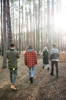 Vista traseira foto de grupo de amigos caminhando ao ar livre