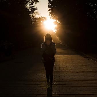 Vista traseira, mulher, ligado, pôr do sol