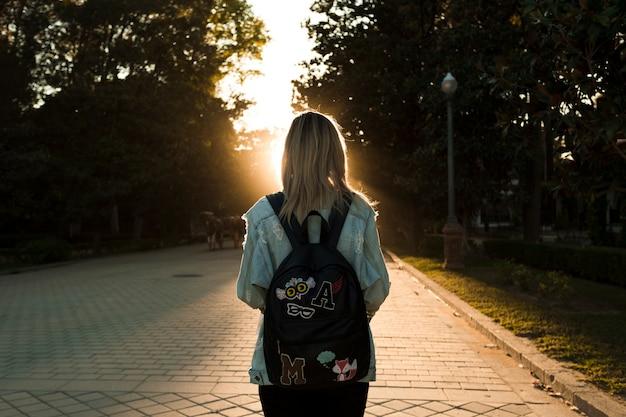 Vista traseira, mulher olha, em, pôr do sol