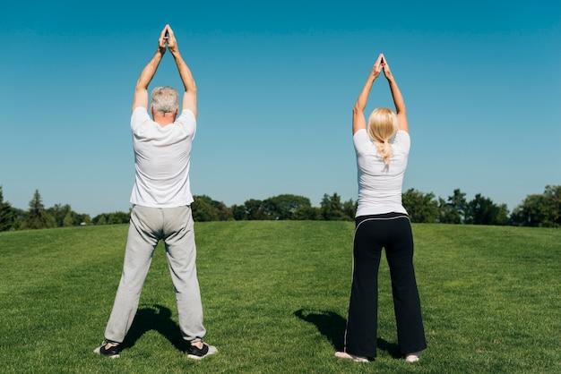 Vista traseira, pessoas, exercitar, ao ar livre