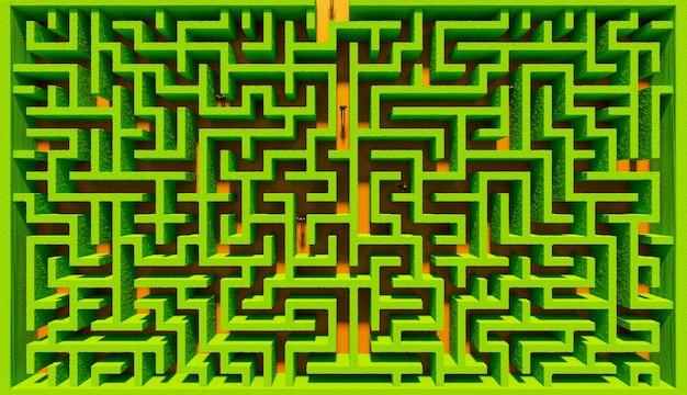 Vista zenital de um labirinto de arbustos com pessoas perdidas nele. ilustração 3d