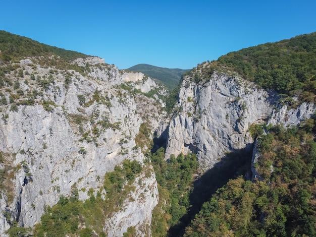 Vistas da montanha na vegetação, colinas verdes