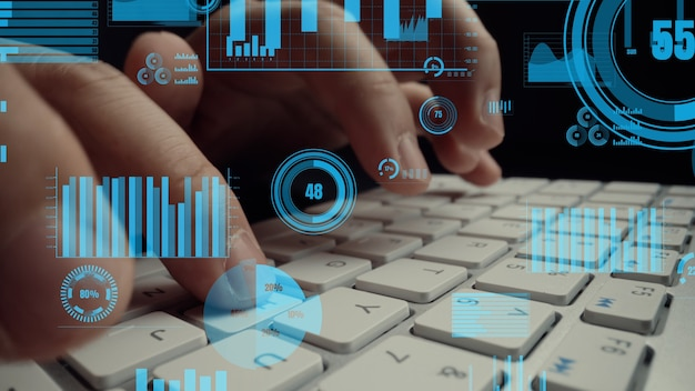 Visual criativo de big data de negócios e análise financeira no computador