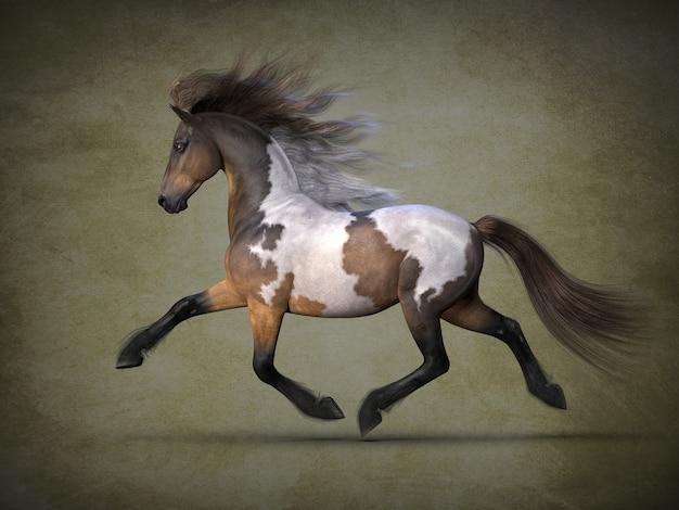 Visualização 3d de belo cavalo manchado