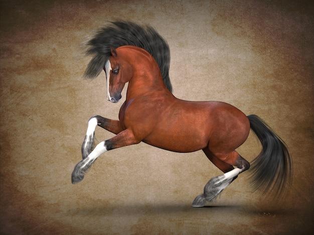 Visualização 3d do belo cavalo castanho
