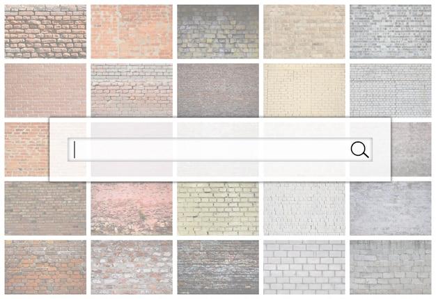 Visualização da barra de pesquisa no fundo de uma colagem de muitas fotos com fragmentos de paredes de tijolos