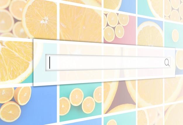 Visualização da barra de pesquisa sobre o fundo de uma colagem de muitas fotos com laranjas suculentas.