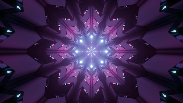 Visualização da ilustração 3d através da perspectiva futurística do túnel com orifícios geométricos em forma de estrela e iluminação de néon roxa para projetos de arquitetura sci fi