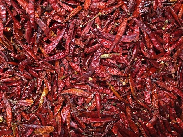 Visualização da textura de chili peppers desidratados
