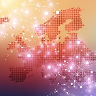 Visualização de big data. complexidade da informação visual do fundo abstrato geométrico. projeto de infográficos futuristas. fundo de tecnologia com linha e pontos conectados, ilustração de fluxo de onda.