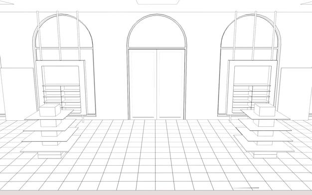 Visualização de contorno de shopping center esboço de esboço de renderização em 3d