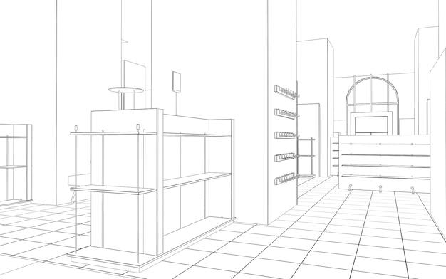 Visualização de contorno de shopping center esboço de ilustração 3d