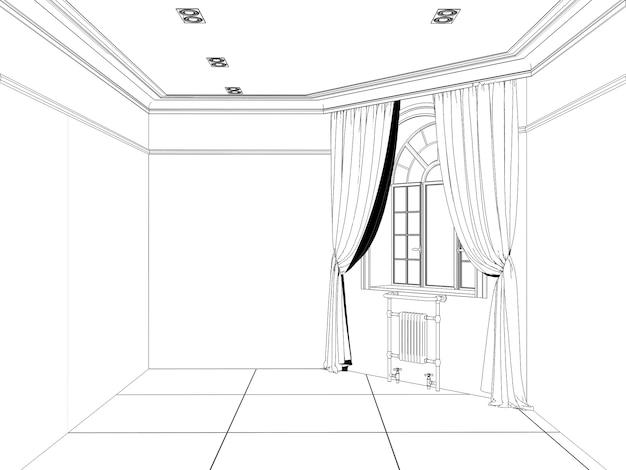 Visualização de contorno de um grande esboço de interior vazio cg render