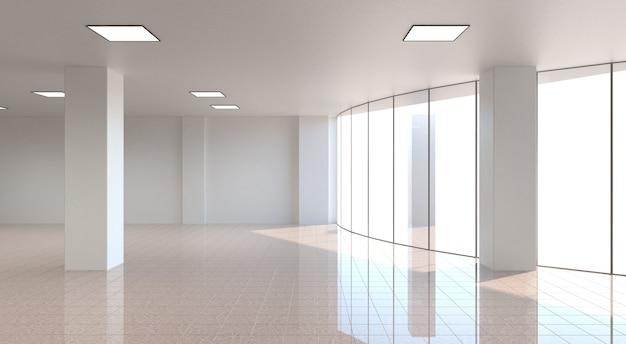 Visualização de um grande interior vazio 3d ilustração cg render