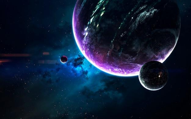 Visualização do espaço de ficção científica. sistema planetário a milhares de anos-luz de distância da terra. elementos desta imagem fornecidos pela nasa