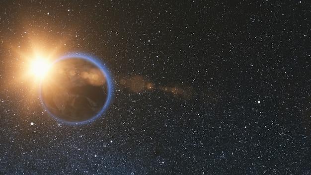 Visualização do espaço no planeta terra e estrela solar girando em seu eixo no universo preto sem costura loop com