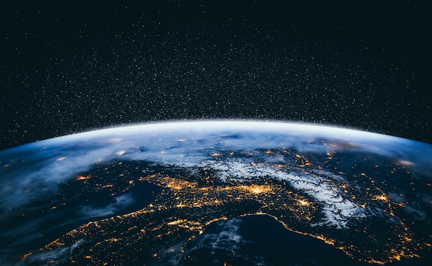 Visualização do globo do planeta terra vista do espaço, mostrando a superfície da terra e o mapa do mundo realistas