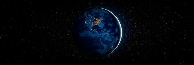 Visualização do globo do planeta terra vista do espaço mostrando a superfície da terra e um mapa mundial