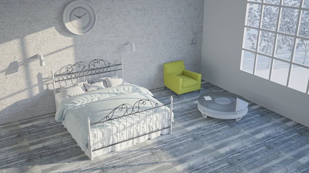 Visualização do quarto. ilustração 3d
